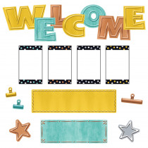 T-8772 - Wipe-Off Welcome Mini Bb St I Heart Metal in Classroom Theme