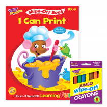 I Can Print Book and Crayons Reusable Wipe-Off Activity Set - T-90914 | Trend Enterprises Inc. | Art Activity Books
