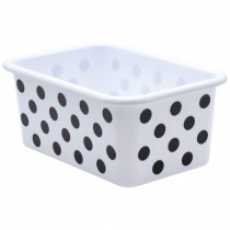 Black Polka Dots on White Small Plastic Storage Bin - TCR20401 | Teacher Created Resources | Storage Containers