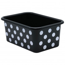 White Polka Dots on Black Small Plastic Storage Bin - TCR20402 | Teacher Created Resources | Storage Containers