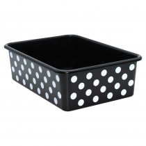 White Polka Dots on Black Large Plastic Storage Bin - TCR20420 | Teacher Created Resources | Storage Containers