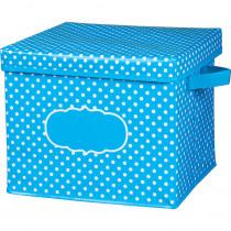 TCR20817 - Aqua Polka Dots Storage Bin W/ Lid in Storage Containers