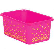Pink Confetti Small Plastic Storage Bin - TCR20891 | Teacher Created Resources | Storage Containers
