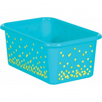 Teal Confetti Small Plastic Storage Bin - TCR20893 | Teacher Created Resources | Storage Containers