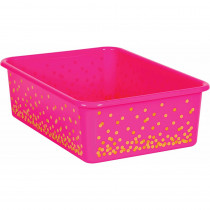 Pink Confetti Large Plastic Storage Bin - TCR20898 | Teacher Created Resources | Storage Containers