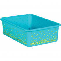 Teal Confetti Large Plastic Storage Bin - TCR20900 | Teacher Created Resources | Storage Containers