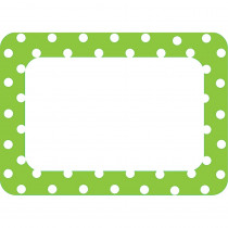 TCR5174 - Lime Polka Dots 2 Name Tags Labels in Name Tags