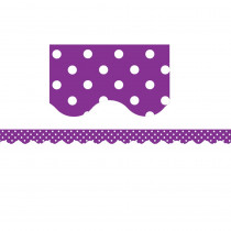 TCR5499 - Purple Mini Polka Dots Scalloped Border Trim in Border/trimmer