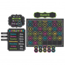TCR5615 - Chalkboard Brights Calendar Bulletin Board Set in Calendars
