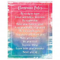 TCR7554 - Watercolor Classroom Rules Chart in Classroom Theme
