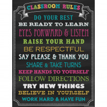 TCR7565 - Chalkboard Brights Classroom Rules Chart in Classroom Theme