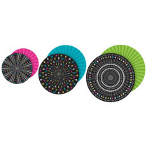 TCR77104 - Chalkbrd Brights Hanging Paper Fans in Accents