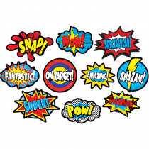 TCR77322 - Superhero Sayings Accents Clingy Thingies in Accents