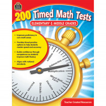 TCR8069 - 200 Timed Math Tests Elementary And Middle Grades in Math