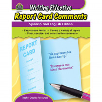 TCR8858 - Writing Effective Report Card Comments English & Spanish Edition in Progress Notices