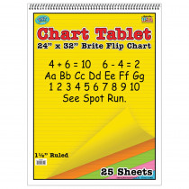 TOP3820 - Chart Tablets 24 X 32 Assorted 1/2 Ruled in Chart Tablets