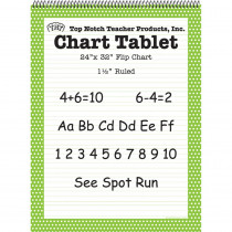 TOP3848 - Polka Dot Chart Tablet Green 1.5 Ruled in Chart Tablets