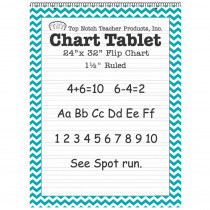 TOP3859 - Teal Chevron Border Chart Tablet 24X32 1 1/2In Ruled in General