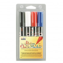 UCH4804C - Bistro Chalk Markers Brd Tip 4 Clr Set Black Red Blue White in Markers