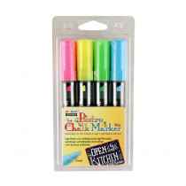 UCH4834H - Bistro Chalk Markers Chisel Tip 4 Clr Set Fluor Ylw Pnk Grn Blu in Markers