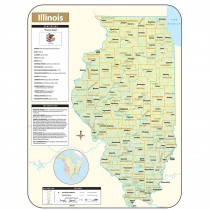 UNI28382 - Shaded Relief Map Rolled Illinois in Maps & Map Skills