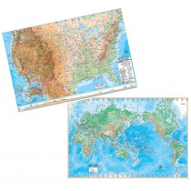 UNI2982327 - Us & World Adv Physical Map Set Rolled 50X32 in Maps & Map Skills