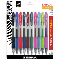 ZEB46881 - Sarasa 10Pk Asstd Gel Retractable Roller Ball Ink Pens With Case in Pens