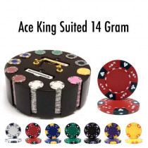 Ace King Suited 300pc Poker Chip Set w/Wooden Carousel