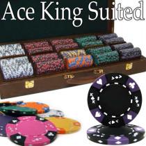 Ace King Suited 500pc Poker Chip Set w/Walnut Case