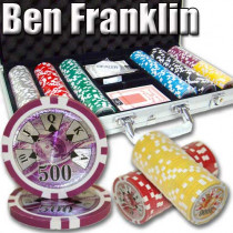 Ben Franklin 14 Gram 300pc Poker Chip Set w/Aluminum Case