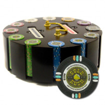 Gold Rush 300pc Poker Chip Set w/Wooden Carousel