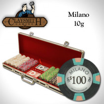 Claysmith Milano 500pc Poker Chip Set w/Black Aluminum Case