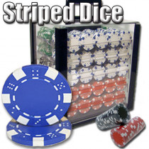 Striped Dice 1000pc Poker Chip Set w/Acrylic Case
