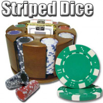 Striped Dice 200pc Poker Chip Set w/Wooden Carousel