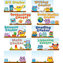 Colorful Owls Center Signs Mini Bulletin Board Set
