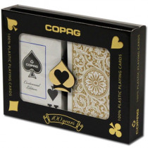 COPAG Plastic Playing Cards, Black/Gold, Bridge Jumbo
