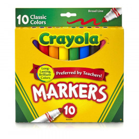 Crayola Taklon Watercolor 10Ct Brush Classic Broad Line Markers