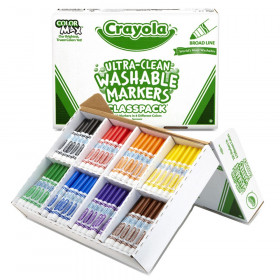 Ultra-Clean Washable Markers Classpack, Broad Line, 8 Colors, Pack of 200