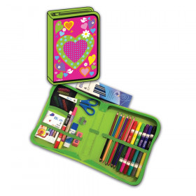 Heart Designed All-In-One School Supplies, durable carrying case 41 pcs. for Grades K-4
