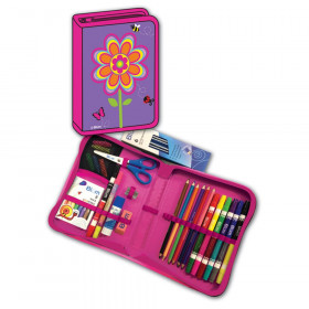 Flowers Designed All-In-One School Supplies, durable carrying case 41 pcs. for Grades K-4