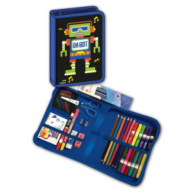 Da Bot Robot Deisgned All-In-One School Supplies, durable carrying case 41 pcs. for Grades K-4