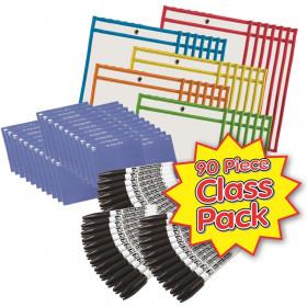 Dry Erase Pocket Class Pack, Dry Erase Pockets, Dry Erase Cloths and Dry Erase Markers, Pocket Style w/Bullet Tip, Black, 90 Pieces