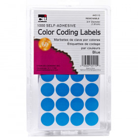 Color Coding Dots, Self-Adhesive Labels, 0.75 Inch Diameter, Blue, Box of 1000