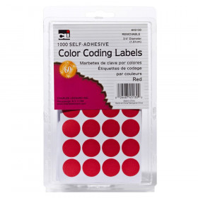 Color Coding Dots, Self-Adhesive Labels, 0.75 Inch Diameter, Red, Box of 1000