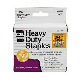 Heavy Duty Staples, 3/4 Inch Leg Length, Carbon Steel, Silver, 1000/Box