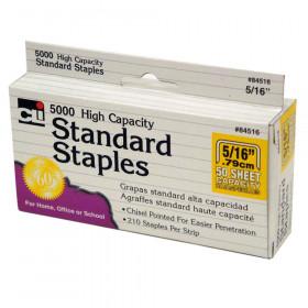 High Capacity Standard Staples, 5/16 Inch Leg Length, Silver, 5000/Box