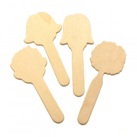 "Natural Wood Craft Sticks, Faces, 5"" Tall, 16 Pieces"