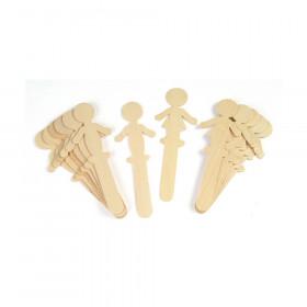 "Natural Wood Craft Sticks, People, 5-1/2"" Tall, 16 Pieces"