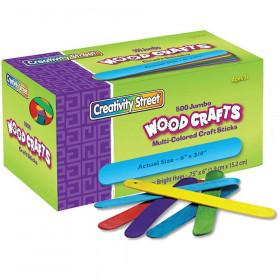"Jumbo Craft Sticks, Bright Hues Assorted, 6"" x 0.75"", 500 Pieces"
