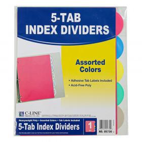 C-Line 5-Tab Poly Index Dividers wo/Slant Pocket, Asstd Colors